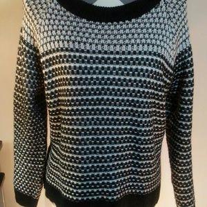 Merona Black and White Sweater. Size large