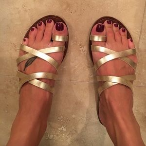 Gold, strapped sandals