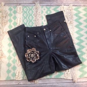 Vintage 100% Leather High-Waisted Moto Pants