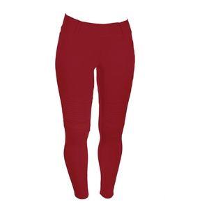 Pants - Plus Red Moto Jegging