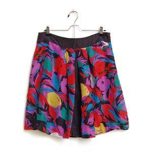 Anthropologie Lil Skirt Floral 100% Silk
