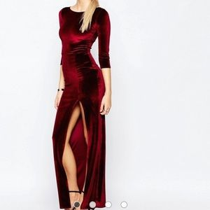 ASOS velvet maxi dress w/ high slit