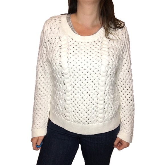 80% off Anthropologie Sweaters - Knitted & Knotted White Cable ...
