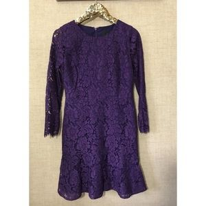 J crew floral lace dress purple long sleeve 10