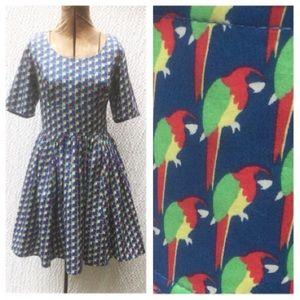 New Eshakti Parrot Fit & Flare Dress L 10