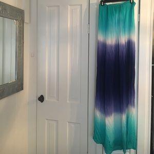 Strapless watercolor Maxi Dress