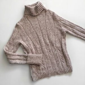 Express Oatmeal Purple Angora Turtleneck Sweater