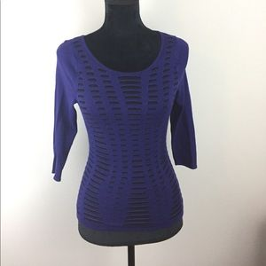 Express Navy and Black Peek-a-Boo Sweater