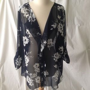 Lane Bryant Top 22 24 Blue Floral Sheer Tunic NWT