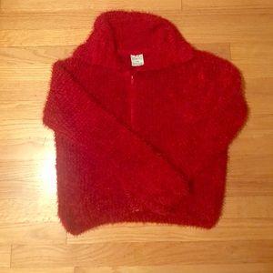 Ruby Red Zip Fuzzy Sweater