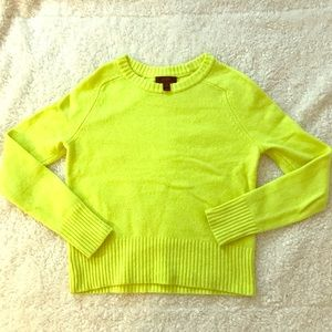 J. Crew 100% wool sweater neon yellow crew neck