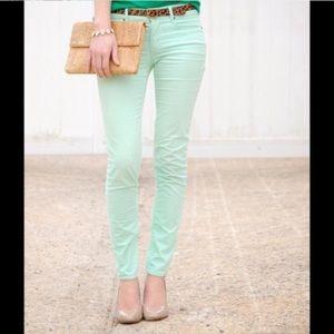 J. Crew Mint Green Corduroy Toothpick Pants Jeans