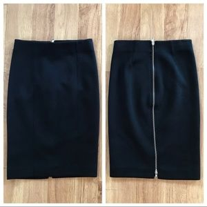New J. Crew Full Zip Black Midi Skirt Size XXS