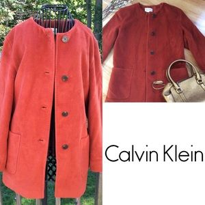 Calvin Klein Cashmere Blend Rust Coat