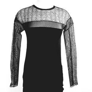 BCBGMAXAZRIA Black Lace Long Sleeve Top