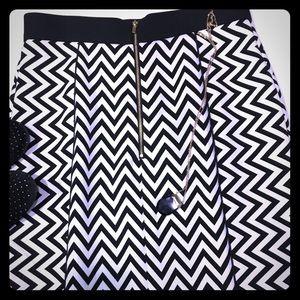 H&M Chevron Midi Black & White Skirt