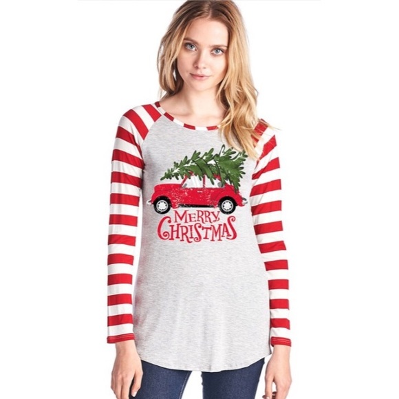 merry christmas graphic stripesleeve tunic s m l