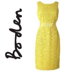 BODEN Yellow Crochet Dress. Size 6