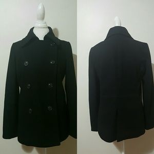 J. CREW BLACK WOOL BLEND THINSULATE PEA COAT