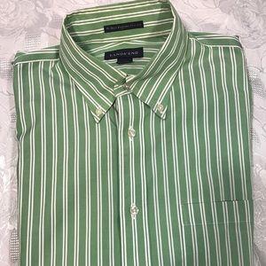 Land's End Men's Green Striped Dress Shirt 15 1/2