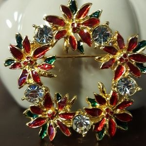 Vntg Christmas Wreath Rhinstone  Brooch