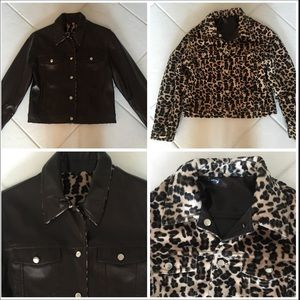 Other - CHILDREN'S REVERSIBLE FAUX LEATHER LEOPARD JACKET