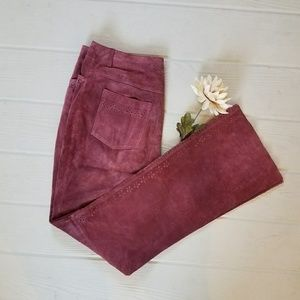 Vintage Dusty Boho Rose Suede High Waisted Pants