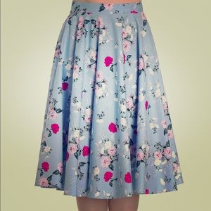 Hell Bunny Belinda Floral Skirt Blue Size Small