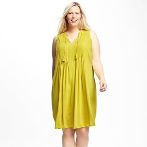 OLD NAVY Pintuck Swing Dress Lime Sz L