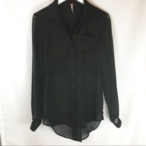 Free People Black Sheer Button Down Shirts