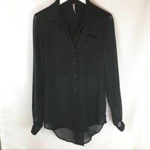 Free People Black Sheer Button Down Shirts
