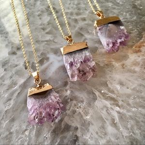 Amethyst 18K Natural Stone Raw Crystal Necklace