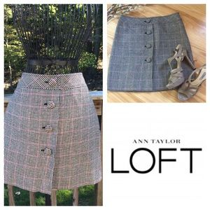 ANN Taylor LOFT Wool Houndstooth Skirt