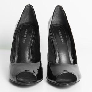 Gianni Bini Black Patent Leather Peep Toe Heel 8.5
