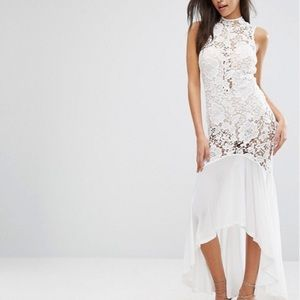 ASOS sheer white lace fishtail maxi dress