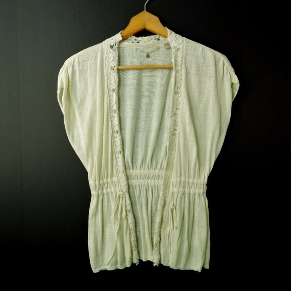 e8016cb7a97 Anthropologie Sweaters - Knitted   Knotted ivory lace trim cardigan