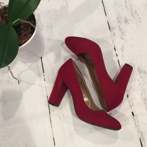 Red Faux Suede Merona Pumps