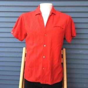VINTAGE- men's red woven medium red shirt