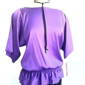 NWT Catherine Malandrio 100% Silk Purple Top