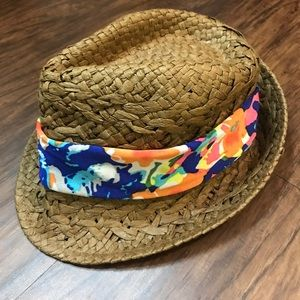 NWOT Floral and Brown Summer Straw Beach Hat