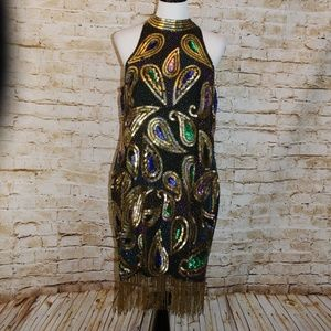 Sequin Originals Silk Beaded and Sequin Dress