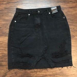 NWT Missguided Black Mini Denim Skirt Size 6