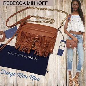 REBECCA MINKOFF NWT Fringe Mini Mac Cognac