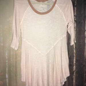 Free People Light Peach Flowy Shirt