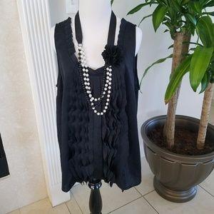 Loft Black Ruffled sleeveless blouse XL