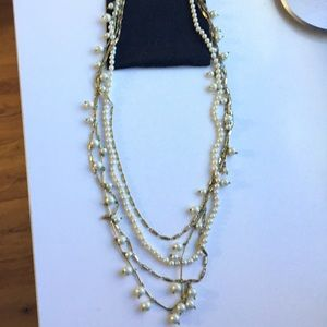 J. Crew brass and pearl four strand necklace