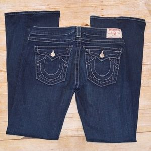 True Religion JOEY Dark Flap Pocket Flare Jeans