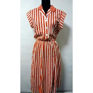Vintage 80's retro red white stripe dress