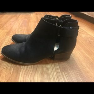 Black ankle booties with wood stack heel