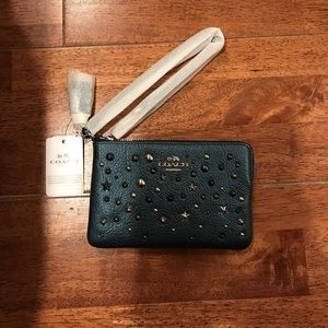 Coach Studded Small Leather Wristlet